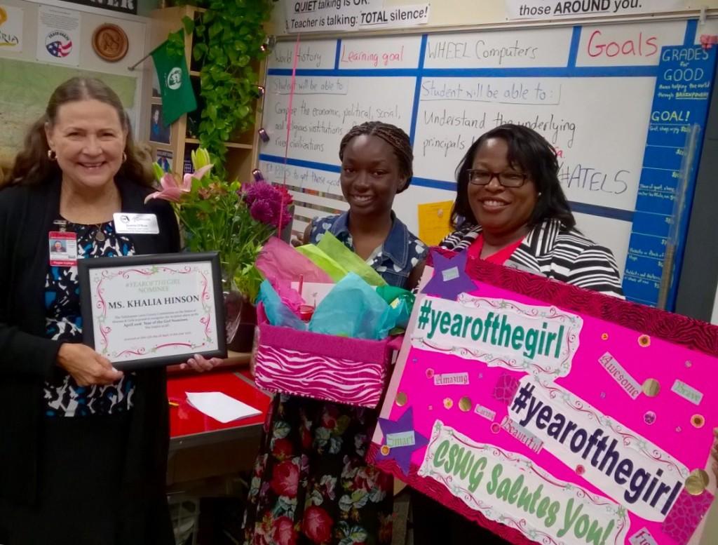 Image: Kahlia Hinson (middle) with CSWG Members Paula DeBoles-Johnson (right) and Dr. Jeanne O'Kon (left)